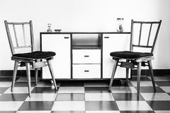 Vintage Chairs and Furnitures in Black and White Royalty Free Stock Photos