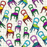 Vintage chairs seamless pattern background. Royalty Free Stock Photo