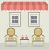 Vintage Chairs Set With Coffee Under Awning And Windows Stock Photography
