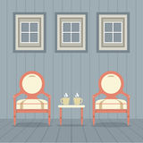 Vintage Chairs Set With Coffee Under Three Windows Royalty Free Stock Photography