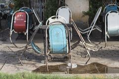 Vintage chairs on a terrace of a bar in Savannakhet in Laos stock image