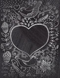 Vintage chalk background with floral ornament and heart in the m Royalty Free Stock Photo