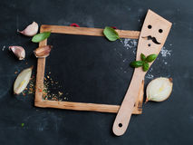 Vintage chalk board with spatula and spice Stock Photos