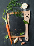 Vintage chalk board with spatula Stock Photography