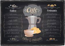 Vintage chalk coffee and croissants menu. Royalty Free Stock Image