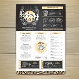 Vintage chalk drawing bakery menu design. Restaurant menu. Design Royalty Free Stock Photo