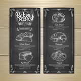 Vintage chalk drawing bakery menu design. Restaurant menu Stock Photos