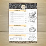 Vintage chalk drawing bakery menu design. Restaurant menu. Document template stock illustration
