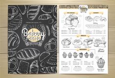 Vintage chalk drawing bakery menu design. royalty free illustration