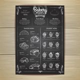 Vintage chalk drawing bakery menu design. Restaurant menu Royalty Free Stock Image