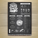 Vintage chalk drawing beer menu design. Royalty Free Stock Photos