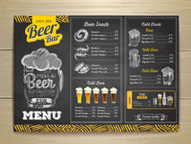 Vintage chalk drawing beer menu design. Royalty Free Stock Images