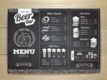 Vintage chalk drawing beer menu design. Royalty Free Stock Image