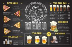 Vintage chalk drawing beer menu design. Restaurant menu vector illustration