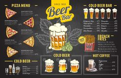 Vintage chalk drawing beer menu design. Restaurant menu. Design Royalty Free Stock Image