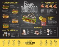 Vintage chalk drawing burger menu design. Fast food menu Royalty Free Stock Photos