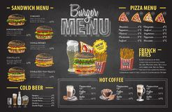 Vintage chalk drawing burger menu design. Fast food menu Stock Photography