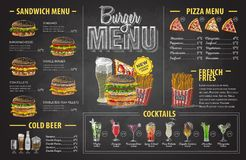 Vintage chalk drawing burger menu design. Fast food menu