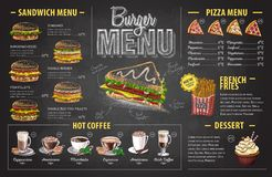 Vintage chalk drawing burger menu design. Fast food menu Royalty Free Stock Image