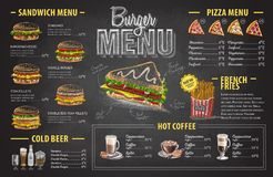 Vintage chalk drawing burger menu design. Fast food menu Stock Images