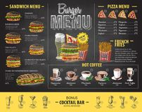 Vintage chalk drawing burger menu design. Fast food menu Stock Photos