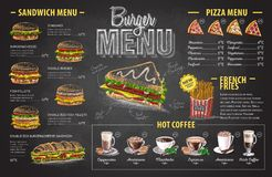 Vintage chalk drawing burger menu design. Fast food menu Stock Image