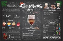Vintage chalk drawing christmas menu design. Restaurant menu stock illustration