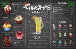 Vintage chalk drawing christmas menu design. Restaurant menu. Vintage chalk drawing christmas menu design royalty free illustration