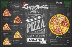 Vintage chalk drawing christmas pizza menu design. Restaurant me stock illustration
