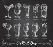 Vintage Chalk Drawing Cocktail Bar Menu. Stock Photography