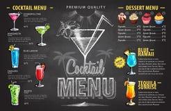 Vintage chalk drawing cocktail menu design. Beverages menu stock illustration