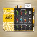 Vintage chalk drawing cocktail menu design. Royalty Free Stock Photos