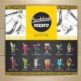 Vintage chalk drawing cocktail menu design. Stock Photos