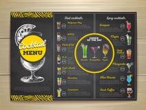 Vintage chalk drawing cocktail menu design. Royalty Free Stock Image
