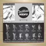 Vintage chalk drawing cocktail menu design. Royalty Free Stock Photography