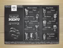 Vintage chalk drawing cocktail menu design. Stock Image