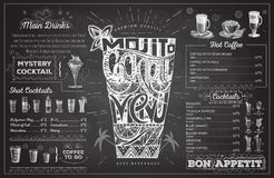 Vintage chalk drawing cocktail menu design. Restaurant menu Stock Photos