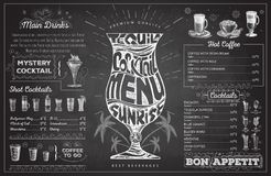 Vintage chalk drawing cocktail menu design. Restaurant menu Royalty Free Stock Image