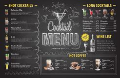 Vintage chalk drawing cocktail menu design. Restaurant menu Stock Image