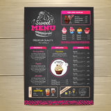 Vintage chalk drawing dessert menu design. Sweet cupcake. Chalk drawing dessert menu design. Sweet cupcake Stock Photos
