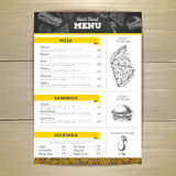 Vintage chalk drawing fast food menu design. Stock Photos