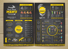 Vintage chalk drawing fast food menu design Stock Photos