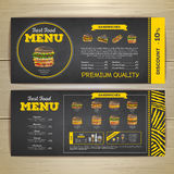 Vintage chalk drawing fast food menu design. Stock Photo