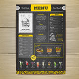 Vintage chalk drawing fast food menu design. Royalty Free Stock Photography