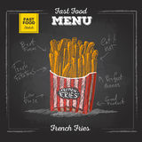 Vintage chalk drawing fast food menu. French fries. Sketch royalty free illustration
