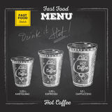 Vintage chalk drawing fast food menu. Hot coffee Stock Image