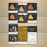 Vintage chalk drawing fast food menu. Pizza sketch. Royalty Free Stock Images