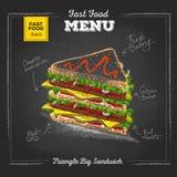 Vintage chalk drawing fast food menu. Sandwich royalty free illustration