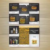 Vintage chalk drawing fast food menu. Sandwich sketch Stock Images