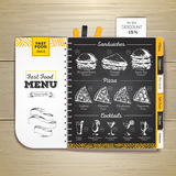 Vintage chalk drawing fast food menu. Sandwich sketch Royalty Free Stock Photo